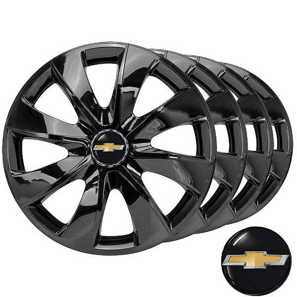 Jogo calotas esportivas Elitte Prime Black aro 13 emblema Chevrolet - Corsa Celta Prisma Classic - LC202