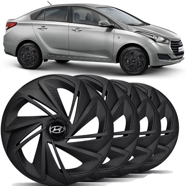 Jogo calotas esportivas Elitte Nitro Black Fosco aro 14 emblema Hyundai - Hb20 Hbs20s Hatch Sedan - LC218