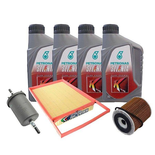 Kit troca de óleo Selenia K Pure Energy 5w30 e filtros ar, óleo, combustível - Fiat Bravo Palio Punto Grand Siena Linea