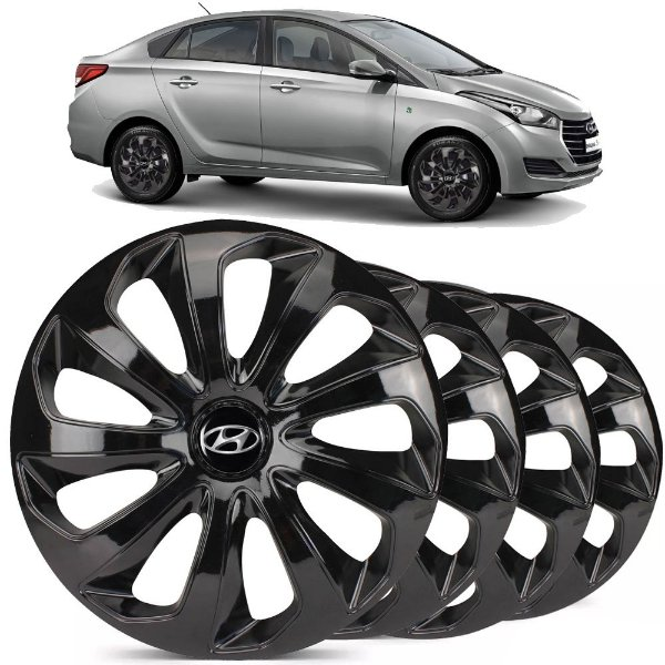 Jogo calotas esportivas Elitte Velox Black aro 15 emblema Hyundai - HB20 HB20S Hatch Sedan - LC122