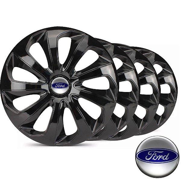 Jogo calotas esportivas Elitte Velox Black aro 15 emblema Ford - New Fiesta Focus Ecosport Ka - LC122