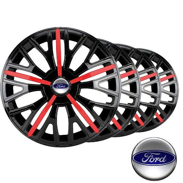 Jogo calotas esportivas Elitte Triton Sport Black Red aro 13 emblema Ford - Ka Fiesta Focus Escort - 3510