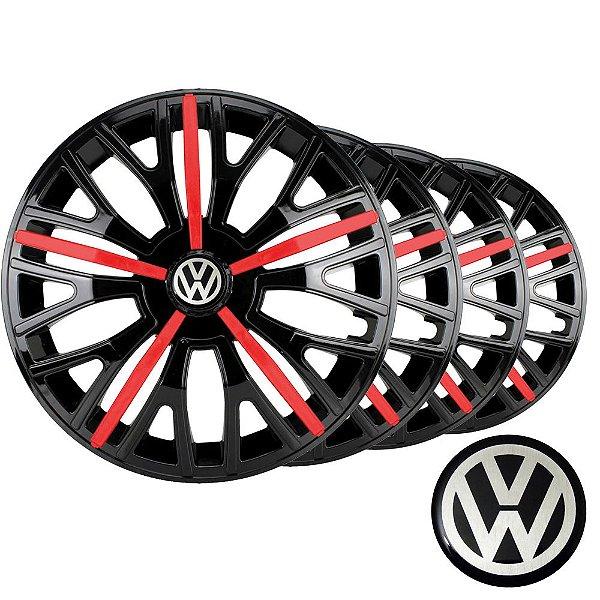 Jogo calotas esportivas Elitte Triton Sport Red Black aro 14 emblema VW - Gol Parati Saveiro Voyage Logus Up Fox - 4510