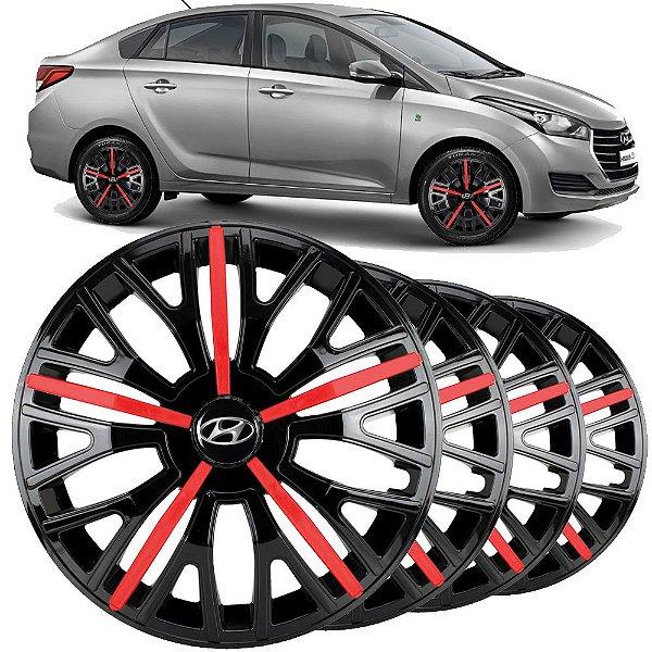 Jogo calota esportiva Elitte Triton Sport Red Black aro 14 emblema Hyundai - Hb20 Hb20s Hatch Sedan - 4510