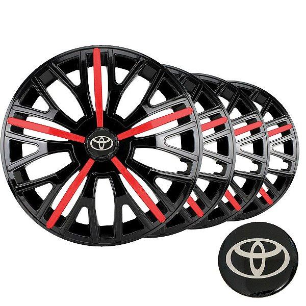 Jogo calota esportiva Elitte Triton Sport Red Black aro 14 emblema Toyota - Corolla E Etios Hatch Sedan - 4510