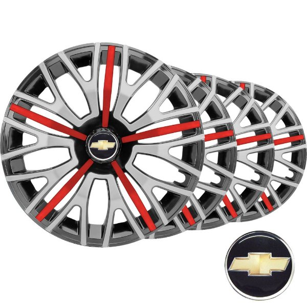 Jogo calota esportiva Elitte Triton Sport Red Silver aro 14 emblema Gm - Onix Corsa Celta Classic Prisma Montana - 4503