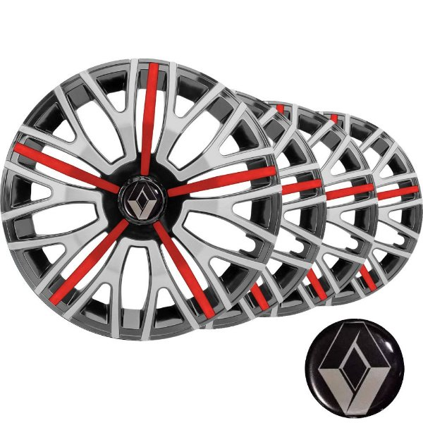 Jogo calota esportiva Elitte Triton Sport Red Silver aro 14 emblema Renault - Clio Logan Sandero - 4503
