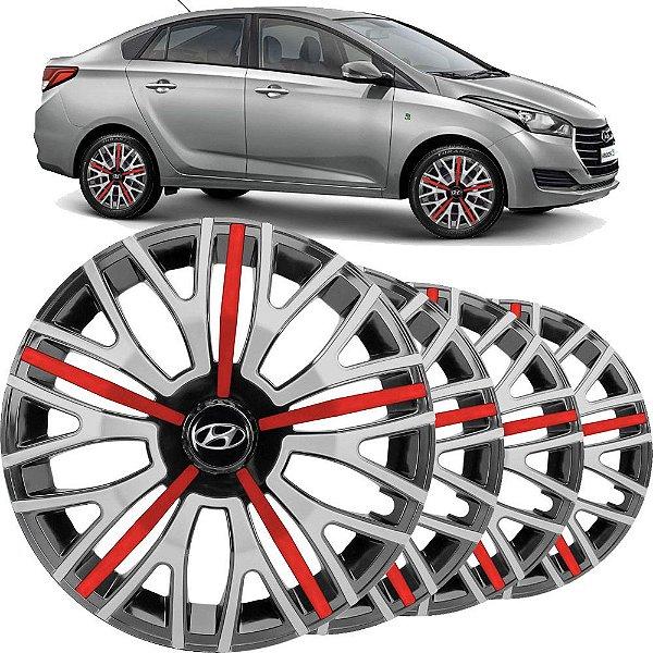Jogo calota esportiva Elitte Triton Sport Red Silver aro 14 emblema Hyundai - HB20 HB20s Hatch Sedan - 4503