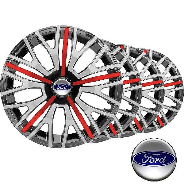 Jogo calota esportiva Elitte Triton Sport Red Silver aro 14 emblema Ford - Fiesta Ka Escort Focus Courier - 4503