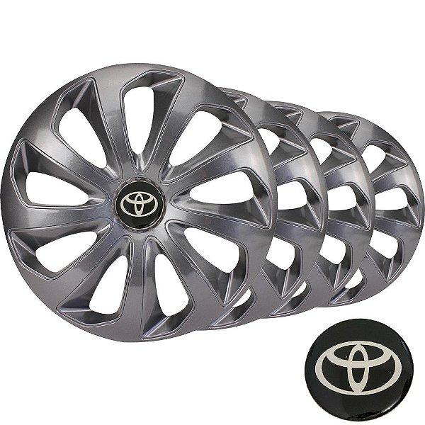 Jogo calota esportiva Elitte Velox Grafite aro 15 emblema Toyota - Corolla Etios Hatch Sedan - LC121