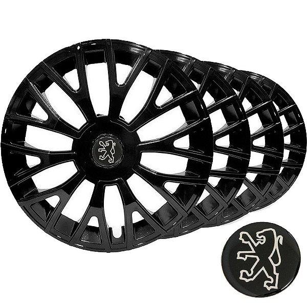 Jogo calota esportiva Elitte Triton Black aro 14 emblema Peugeot - 206 207 208 307 - LC322
