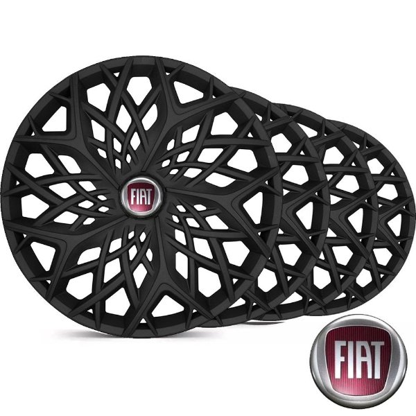Jogo Calota Esportiva Aro 14 Moove Black Fosc Emblema Fiat - Palio Siena Uno Mobi Argo - LC158