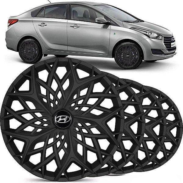 Jogo Calota Esportiva Aro 14 Moove Black Fosco Emblema Hyundai HB20 HB20s Hatch Sedan LC158