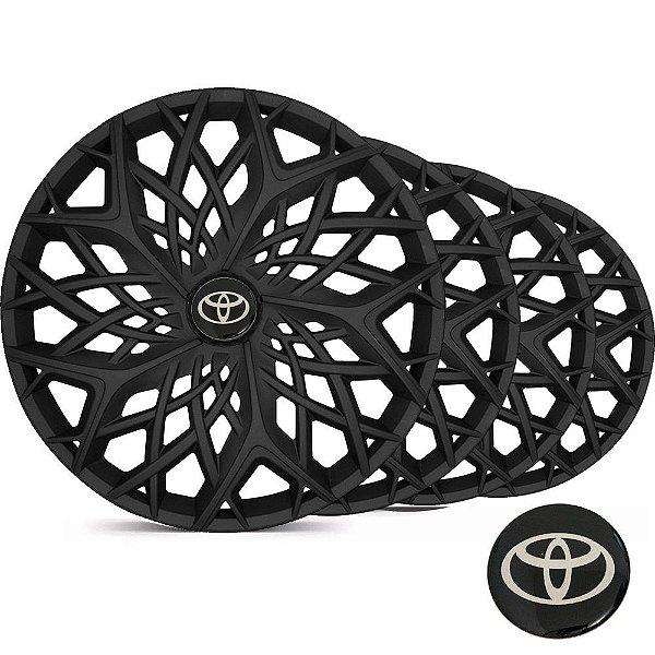 Jogo Calota Esportiva Aro 14 Moove Black Fosco Emblema Toyota - Corolla Etios Hatch Sedan - LC158