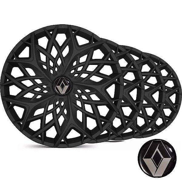 Jogo Calota Esportiva Aro 14 Moove Black Fosco Emblema Renault - Clio Logan Sandero - LC158