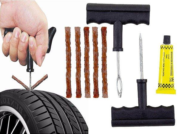 Kit de ferramenta para reparo e conserto de pneu sem camara remendo macarrão e cola para moto e carro