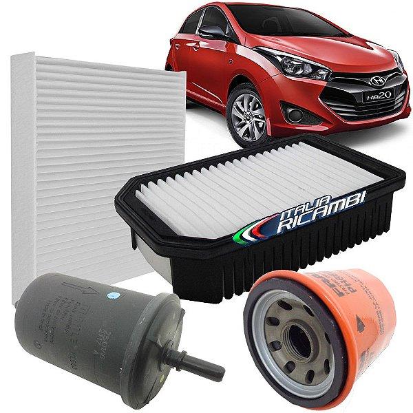 Kit filtro de ar óleo combustivel e ar condicionado - Hyundai HB20 1.0 12V Turbo 2016 em diante