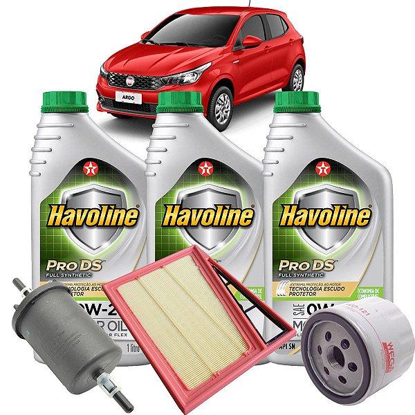 Kit troca de óleo 0W20 e filtros de ar óleo e combustível - Fiat Argo Mobi e Uno 1.0 3 cilindros Firefly