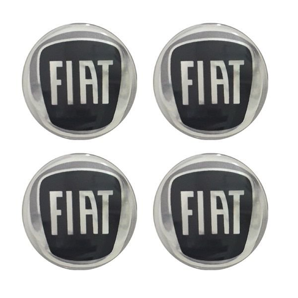 Jogo Emblema Adesivo Resinado Fiat Preto Black 48mm Calota Roda Palio Siena Uno Punto Idea