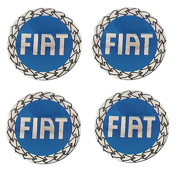 Jogo Emblema Adesivo Resinado Fiat Azul 48mm Calota Roda Palio Siena Uno Idea