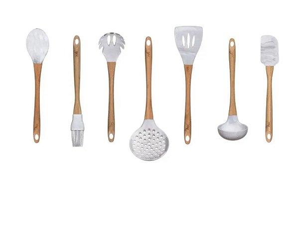 Kit Utensílios De Cozinha 7 Peças Marmorizados Silicone e Bambu Luxo - Yoi