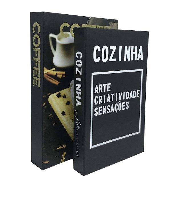 KIT C/2 CAIXAS LIVROS DECORATIVAS COZINHA/COFFEE