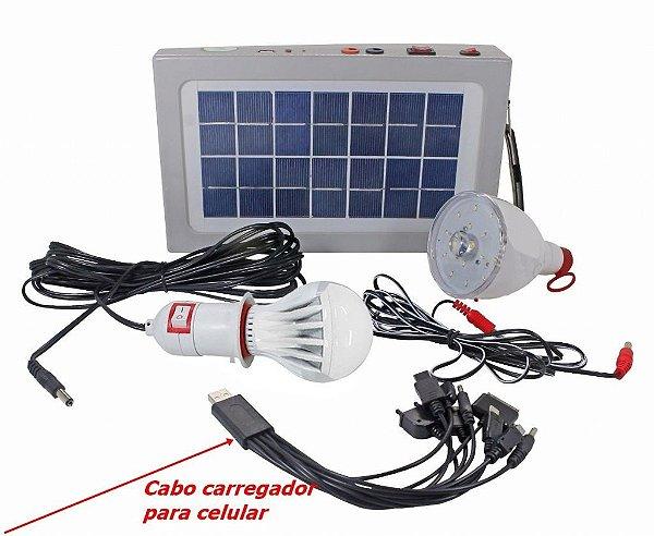 Placa Solar  duas Lampadas mais carregador celular