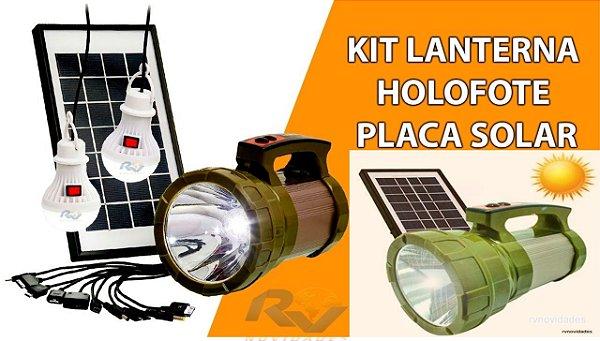 Kit Lanterna Holofote Placa Solar + 2 Lampadas Led Camping