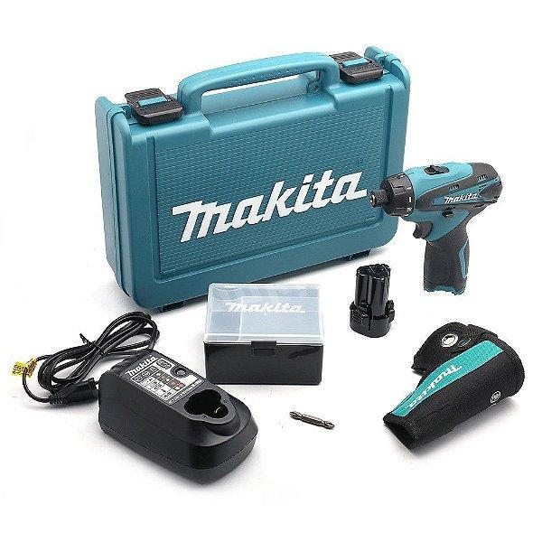 Parafusadeira e Furadeira 1/4 Pol Bateria 12V 110V com  Maleta