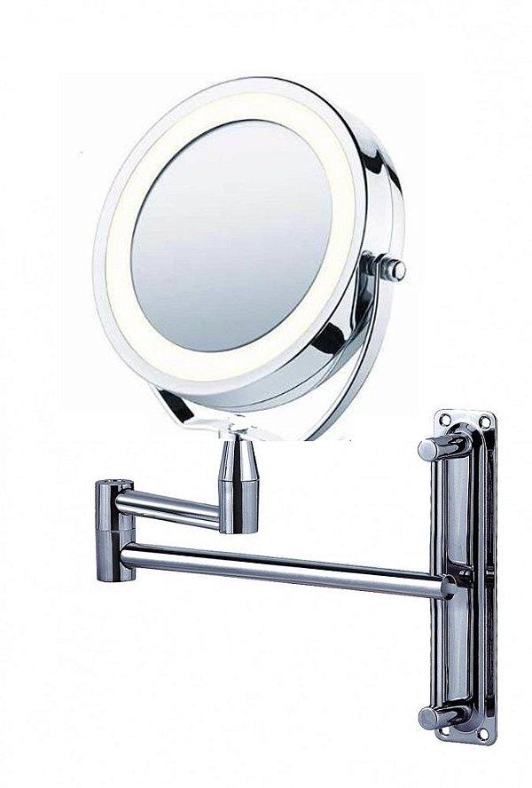 Espelho Articulado Para Banheiro Com Luz Led Aumento 5x