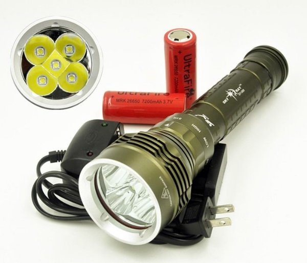 Lanterna Tática Mergulho,80.000l Novo 5 Led Cree L2-7+ Forte