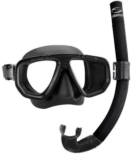 Kit de Mergulho Dua Pro Seasub Titânio - Máscara e Snorkel - PRETO