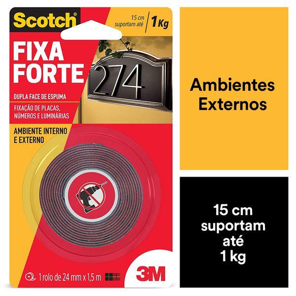 Fita Dupla Face 3M Scotch® Fixa Forte Áreas Externas - 24 mm x 1,5 m