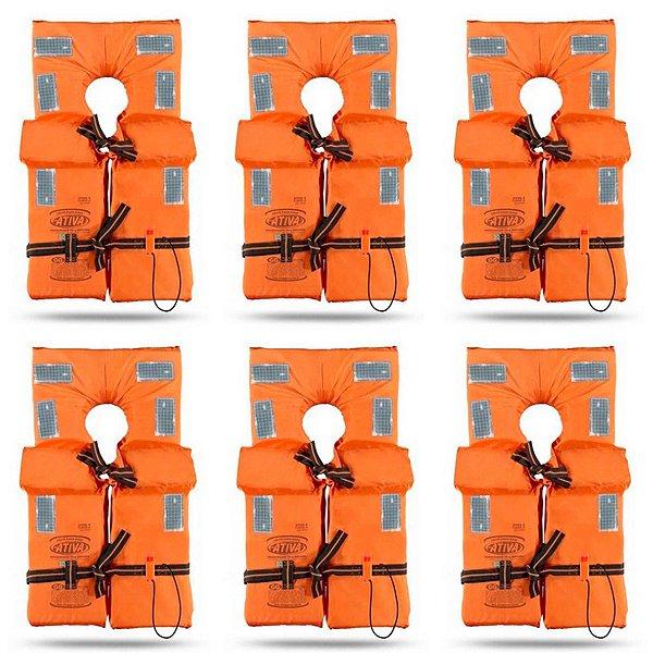 KIT com 6 Coletes Salva Vidas Homologado Classe II - Tamanho P - Ativa