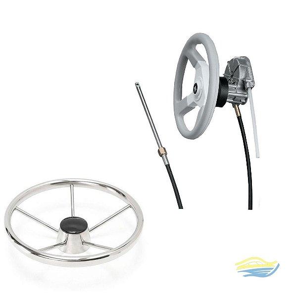 cabo de direção quicksilver 10 pés +  Caixa de direção quicksilver + Um volante inox 30cm