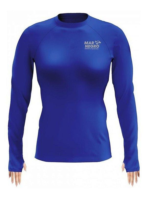 Camiseta De Proteção Solar P/ Pesca Feminina Mar Negro Slim