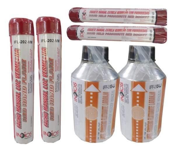 Kit 2 Fumígenos , 2 Foguetes, 2 Fachos Manuais Luz Vermelha