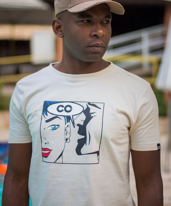 Camiseta longline Quadrinho CO Creme - CO Oficial