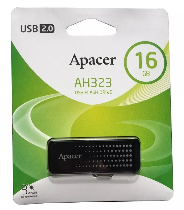 Pen Drive APacer 16gb USB 2.0 Preto