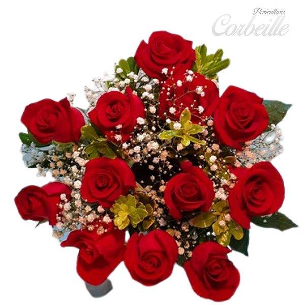 Buque 12 Rosas vermelhas embaladas sofisticadamente