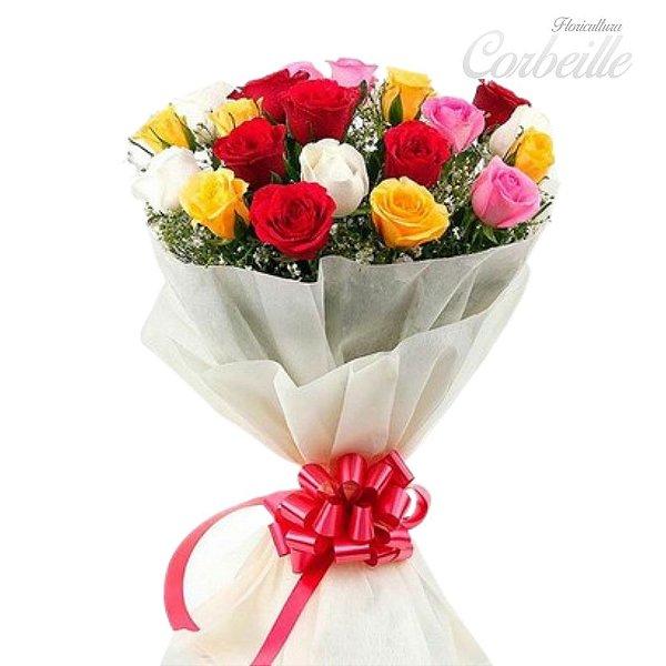 Buquê com 20 Rosas coloridas embalada sofisticadamente