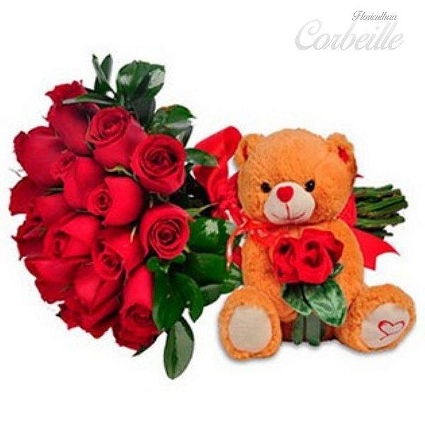 Buquê com 24 rosas vermelhas com Urso de Pelúcia