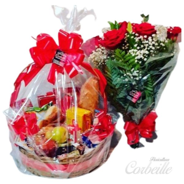Romântica cesta Café da Manhã e Buquê de 6 Rosas