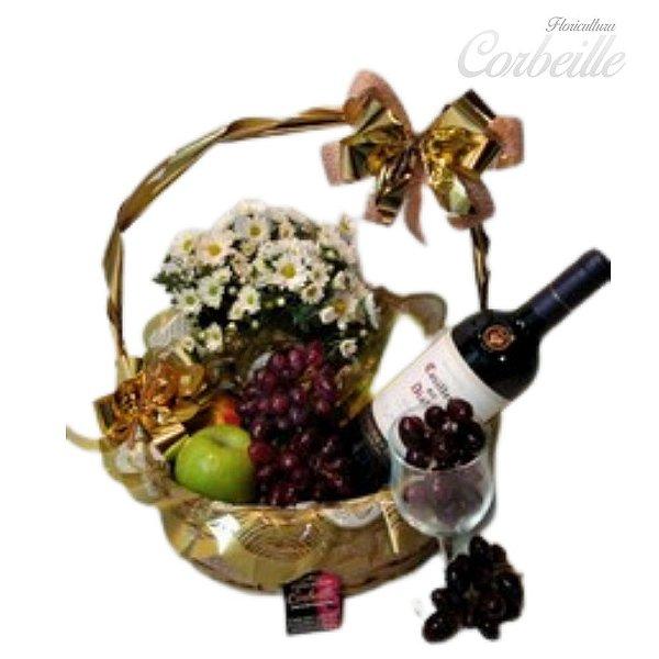 Cesta Frutas Flores e Vinho Importado