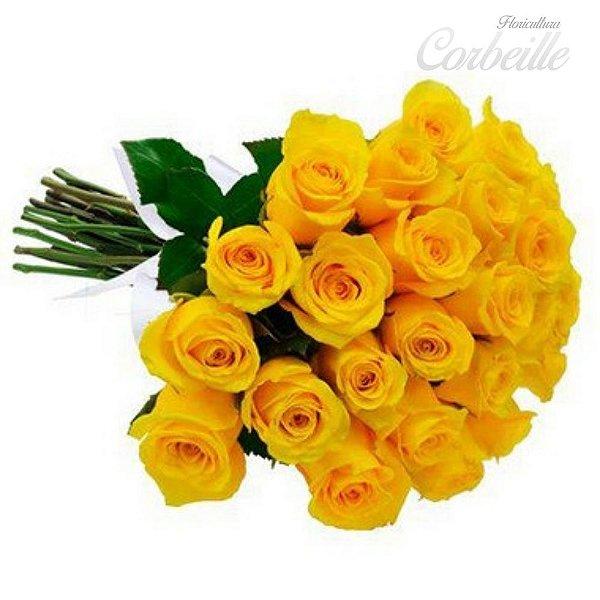 Buquê de 24 rosas amarelas