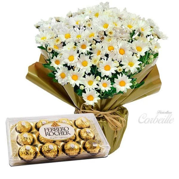 Mini vaso de margaridinhas brancas plantadas com Ferrero Rocher de 12 unidades