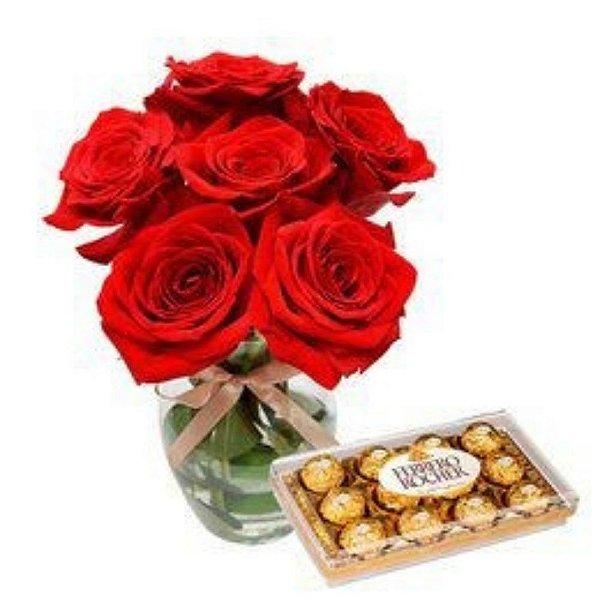 Rosas Colombianas no vaso com Ferrero Rocher