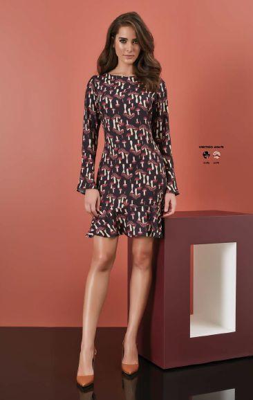 Vestido em Crepe de Seda Estampa Cogumelos - Fato Básico