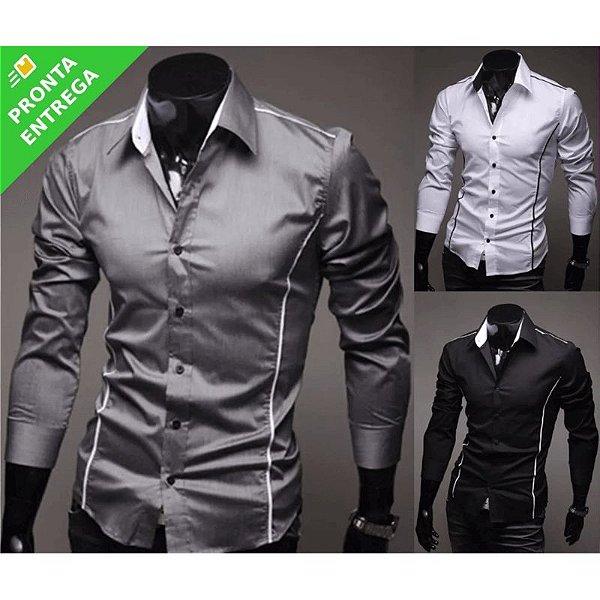 Camisa Social Masculina Slim Fit Luxo Estilosa