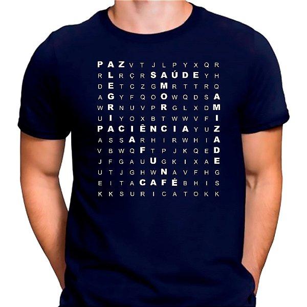 Camiseta Caça Palavras Boas Azul.M - Masculina